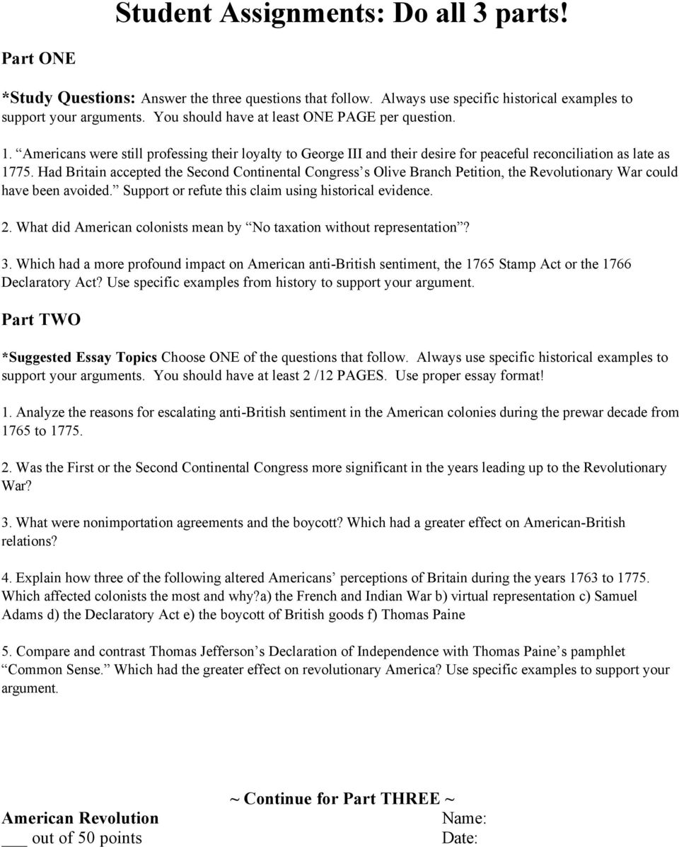The American Revolution From Pdf