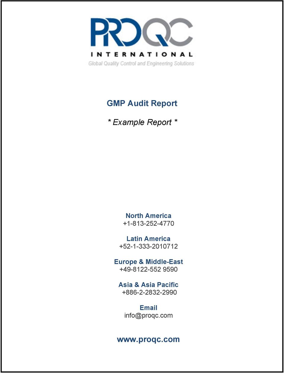 gmp audit report example report pdf