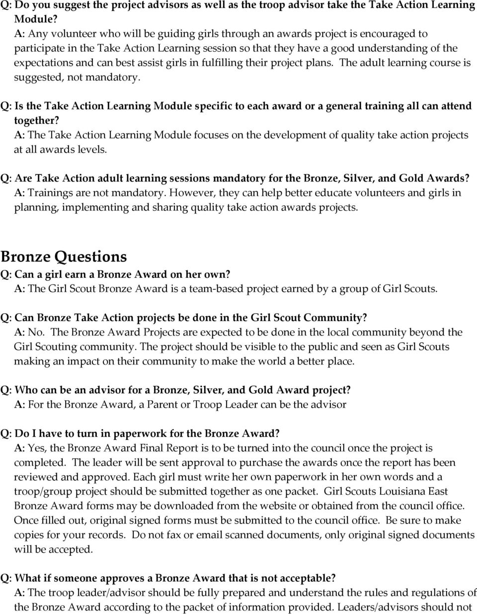 Girl Scouts Louisiana East Frequently Asked Questions Bronze