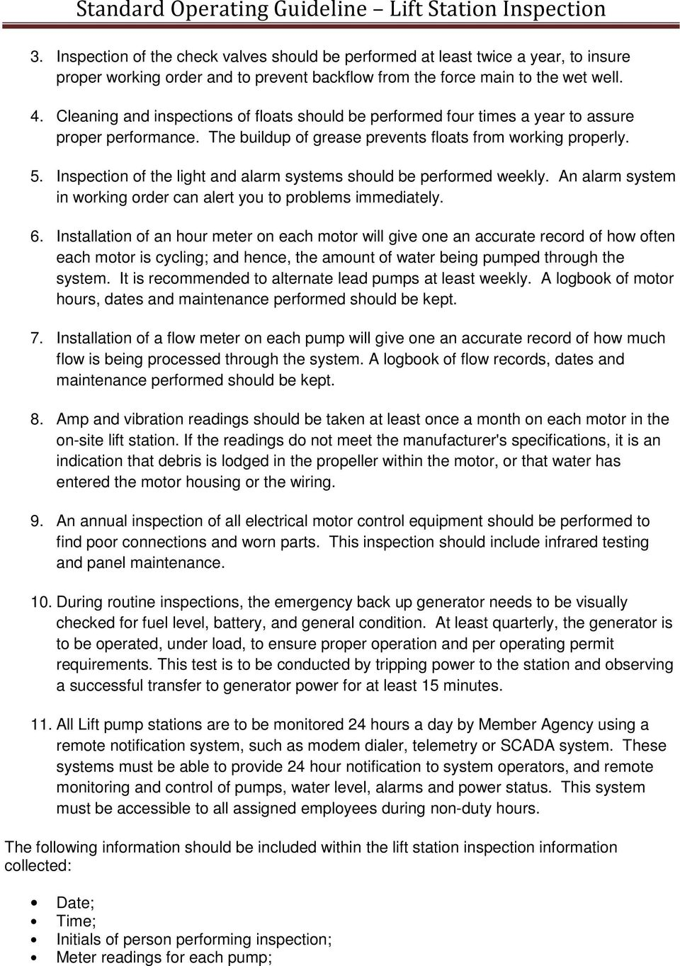 Standard Operating Guideline Lift Station Inspection Pdf Pump Wiring Of The Light And Alarm Systems Should Be Performed Weekly An System In