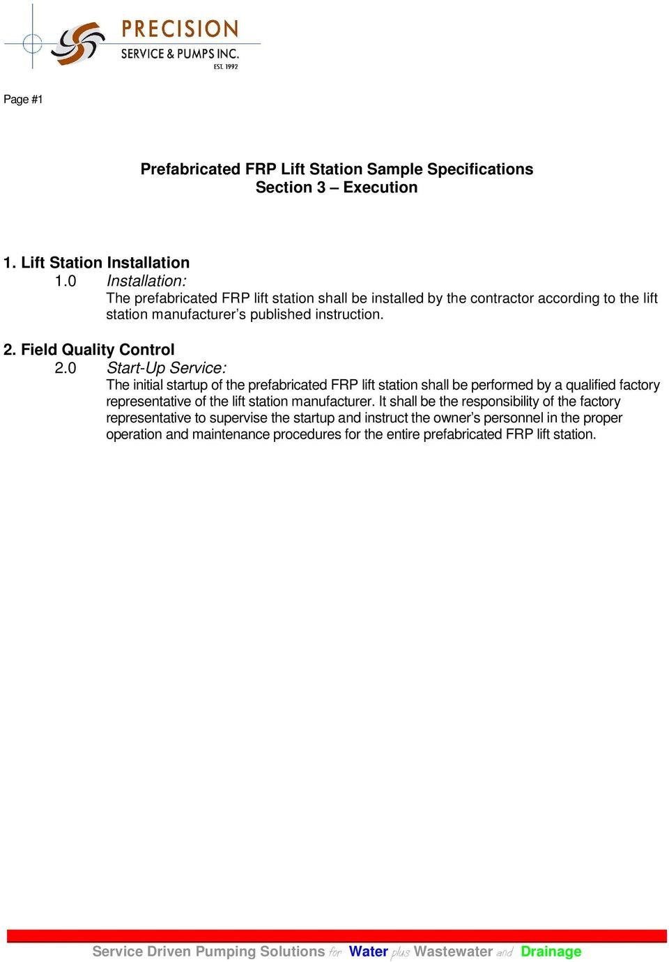 Prefabricated FRP Lift Station Sample Specifications Section