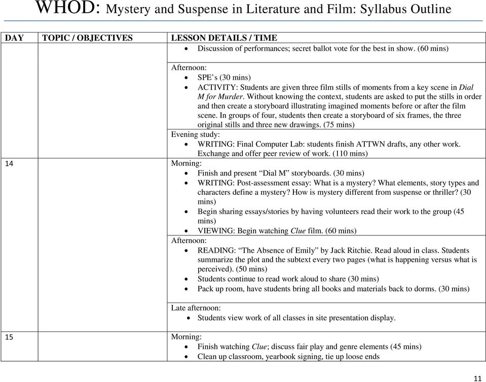WHOD: Mystery and Suspense in Literature and Film: Syllabus