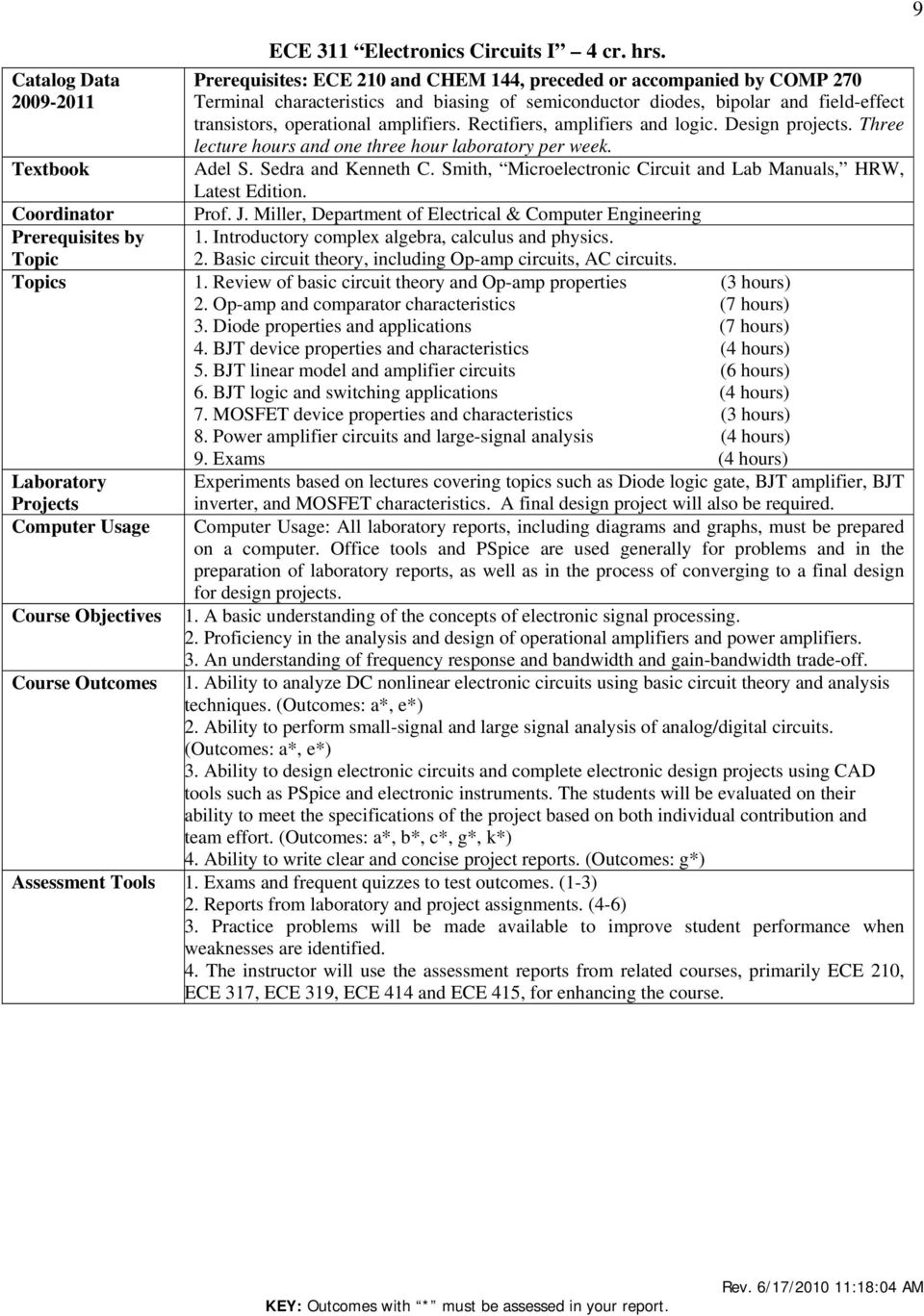 Table of Contents  ECE Courses pg  3 - PDF