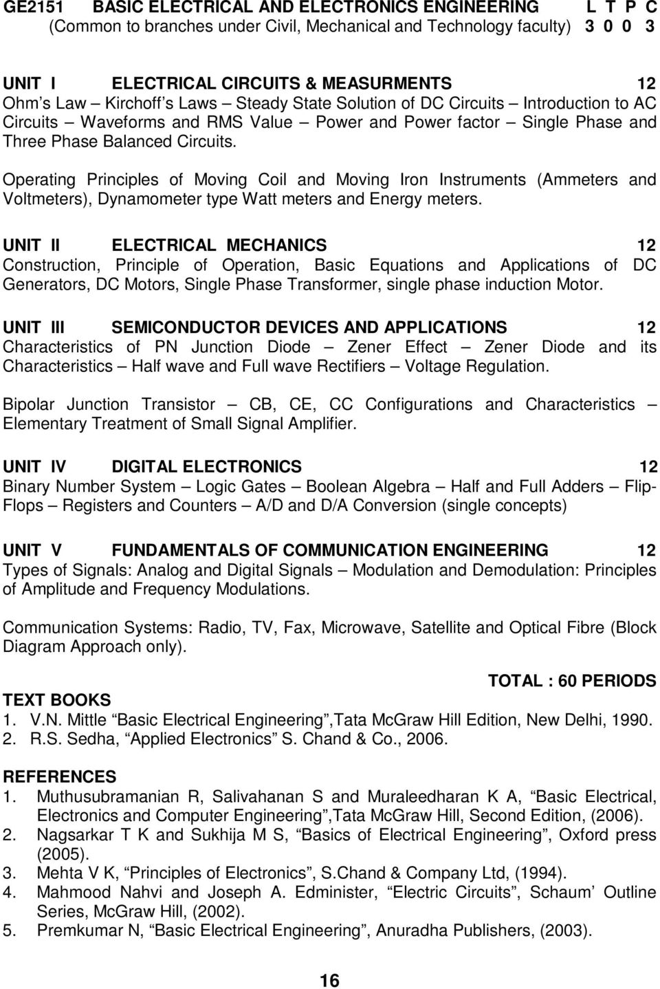R 2008 Be Electronics And Communication Engineering Ii Viii Rs Sedha Electronic Circuits Pdf Operating Principles Of Moving Coil Iron Instruments Ammeters Voltmeters Dynamometer