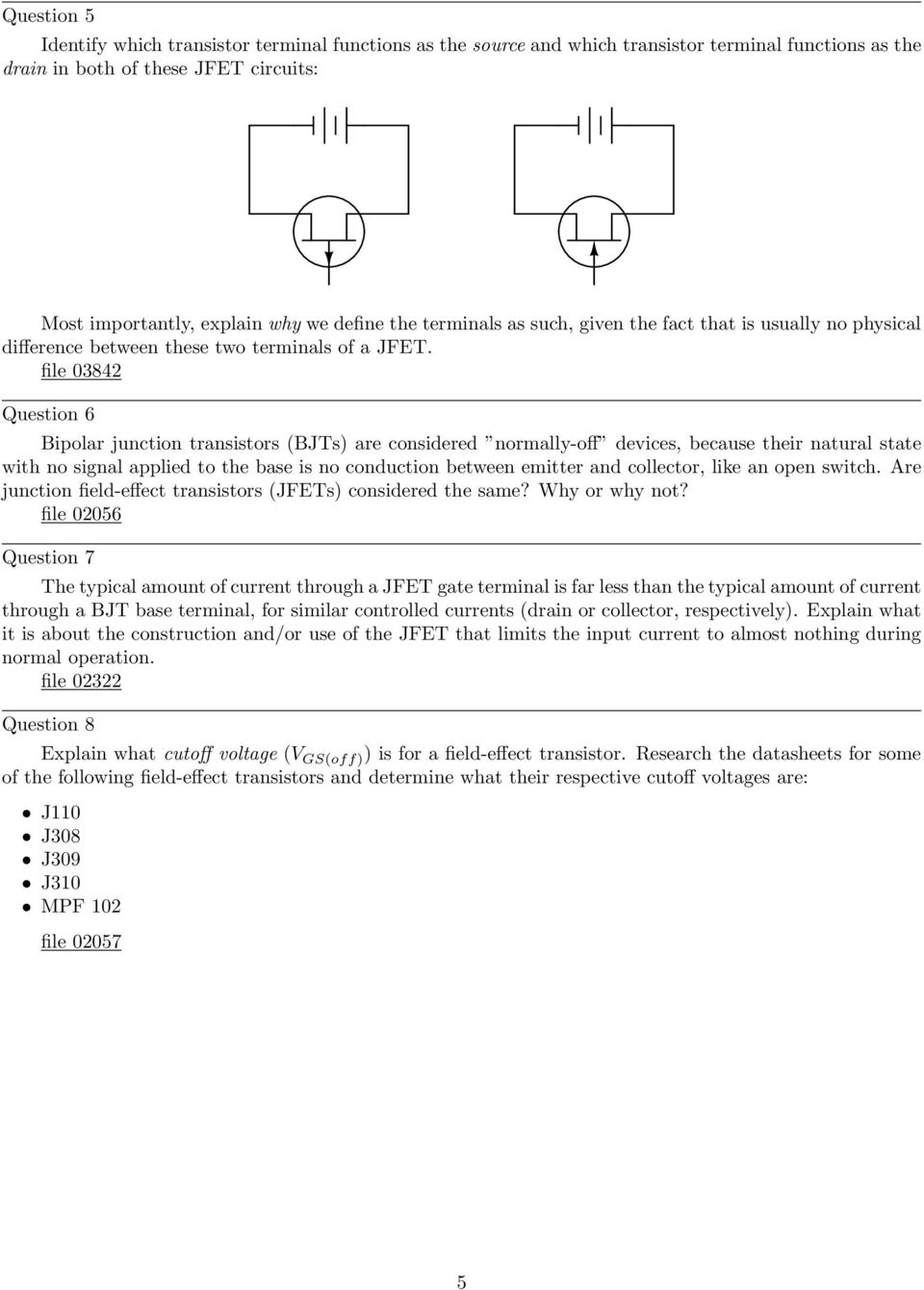 Junction Field Effect Transistors Pdf Moisture Activated Relay By Bipolar Transistor File 03842 Question 6 Bjts Are Considered Normally Off Devices