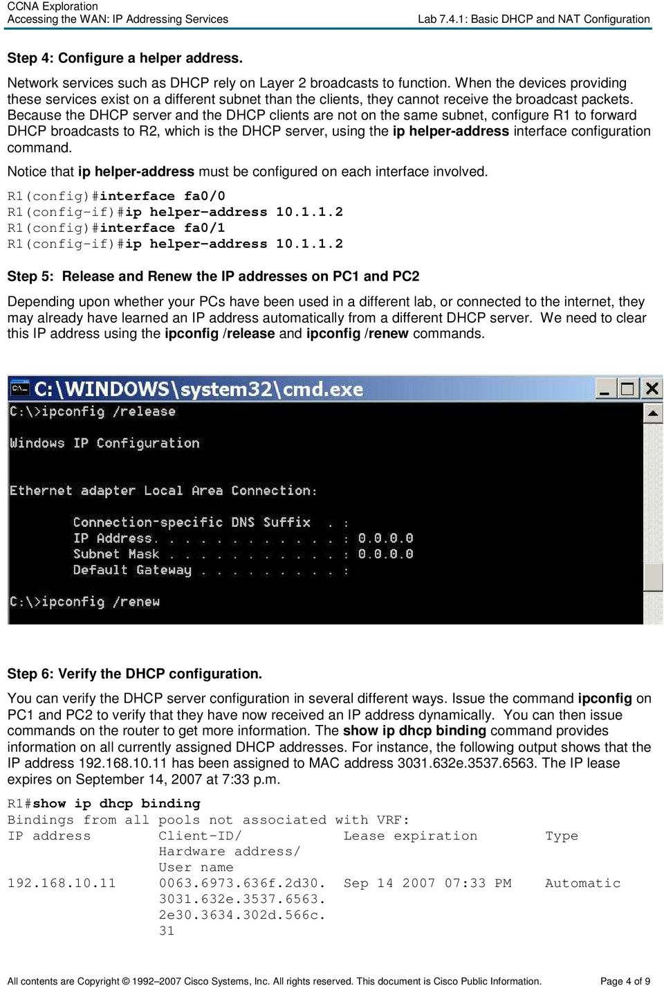 Lab 7 4 1: Basic DHCP and NAT Configuration - PDF
