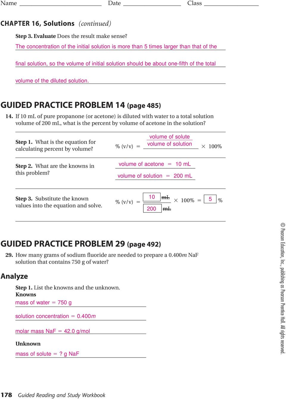 ... Study Workbook. solution. GUIDED PRACTICE PROBLEM 14 (page 485) 14.