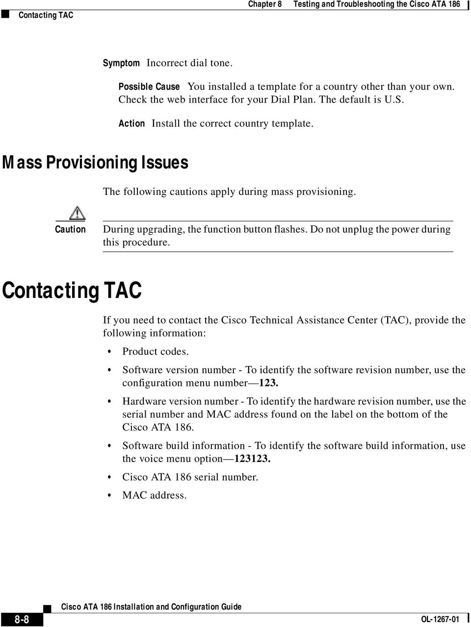 Testing and Troubleshooting the Cisco ATA PDF