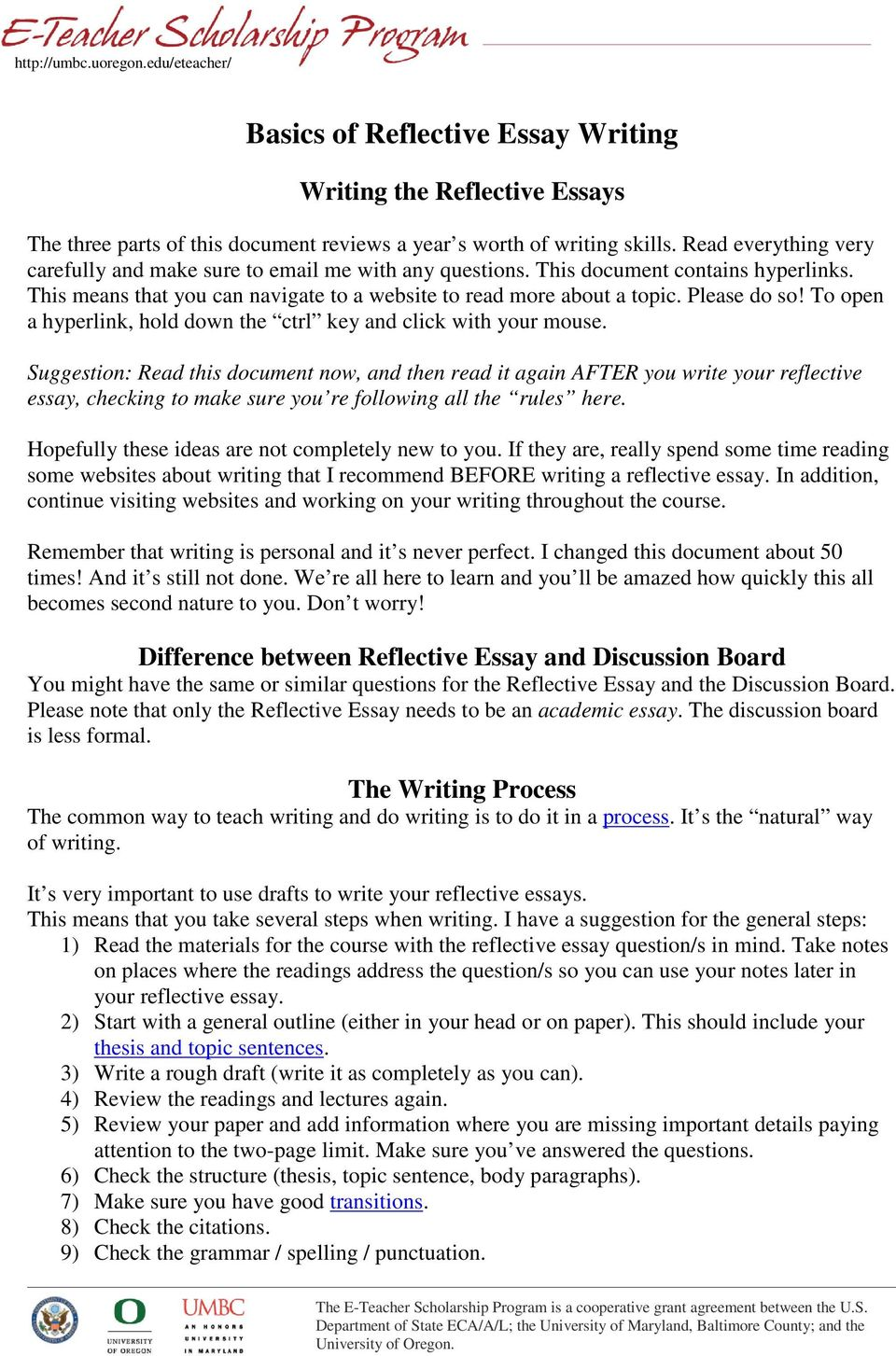 Basics Of Reflective Essay Writing  Pdf To Open A Hyperlink Hold Down The Ctrl Key And Click With Your Mouse