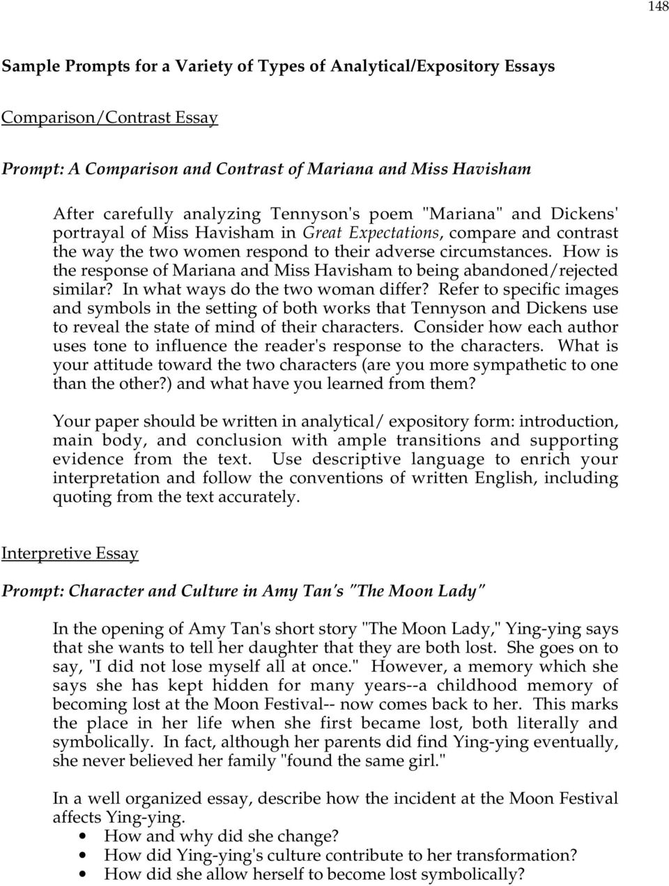 Read My Essay How Is The Response Of Mariana And Miss Havisham To Being  Abandonedrejected Similar Should Students Be Paid For Having Good Grades Essay also My Future Essay Sample Prompts For A Variety Of Types Of Analyticalexpository  History Essays Online