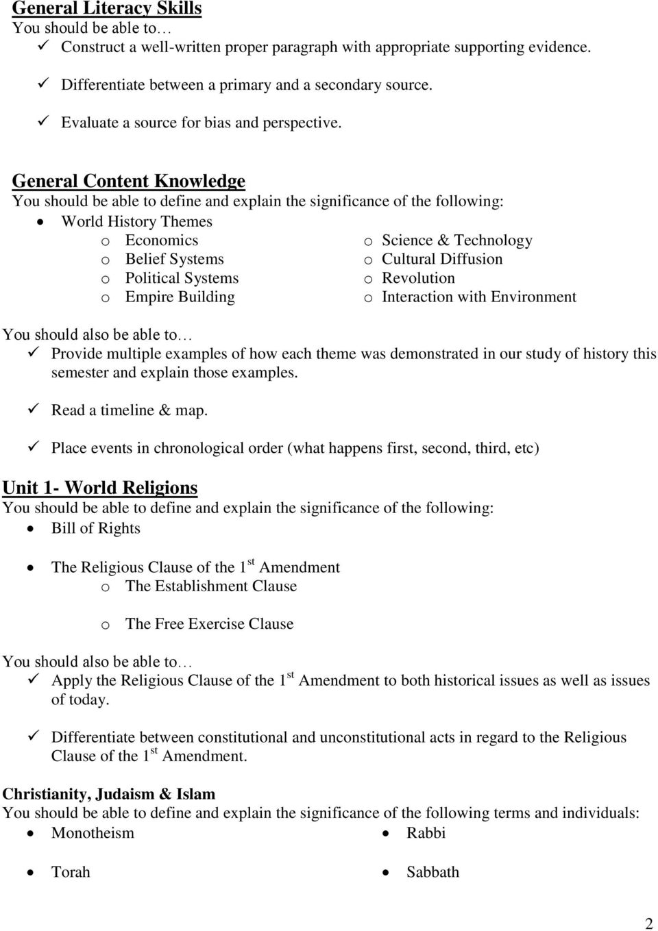 NAME: World History Semester 1 Final Study Guide - PDF