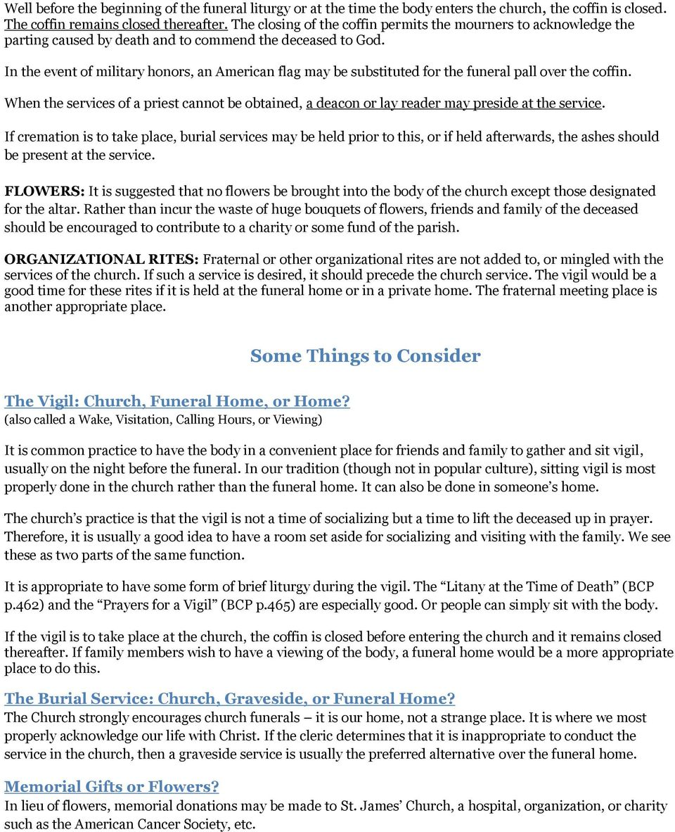 Episcopal Church Funeral Practices and Guidelines - PDF