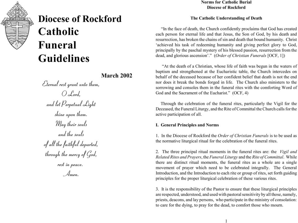 Diocese of Rockford Catholic Funeral Guidelines - PDF