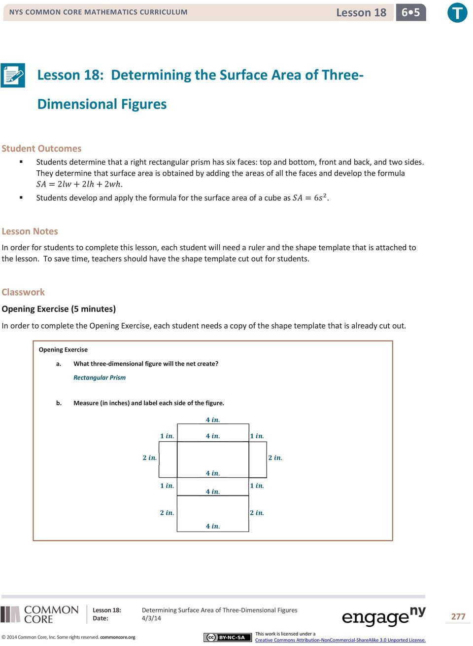 Lesson 18 Determining Surface Area Of Three Dimensional Figures Pdf
