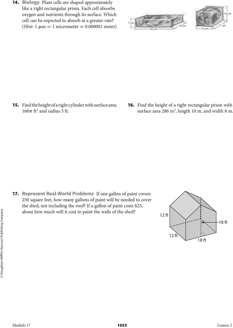 homework and practice lesson 6-8 surface area of prisms and cylinders