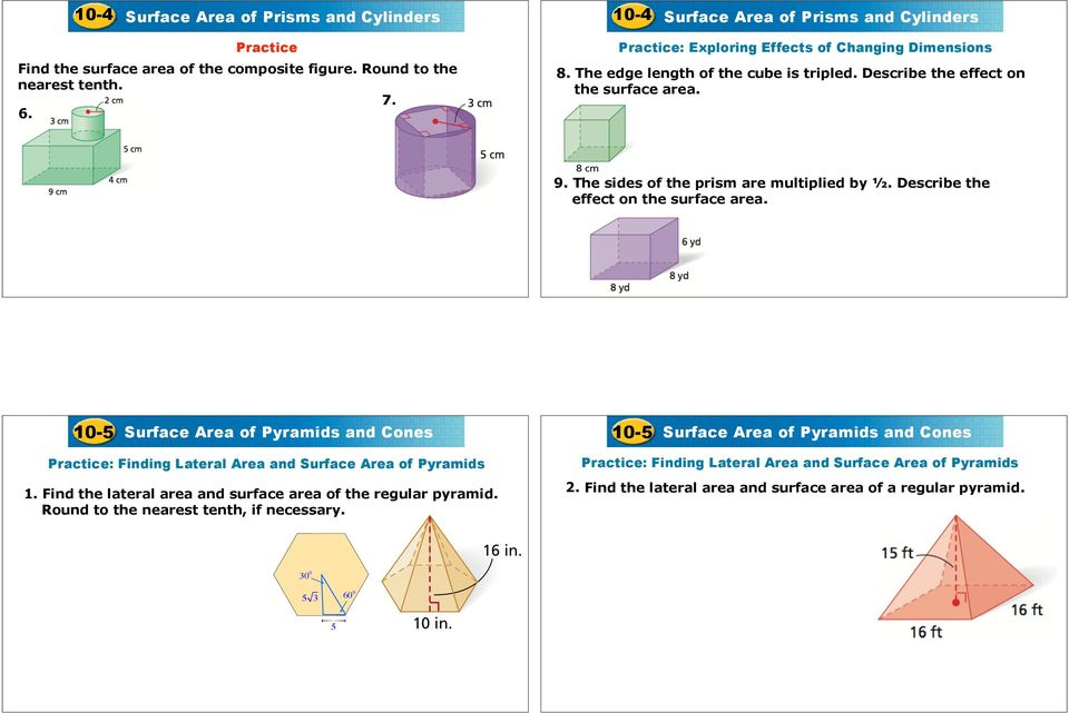 Surface Area Of Prisms And Cylinders Worksheet Answer Key ...