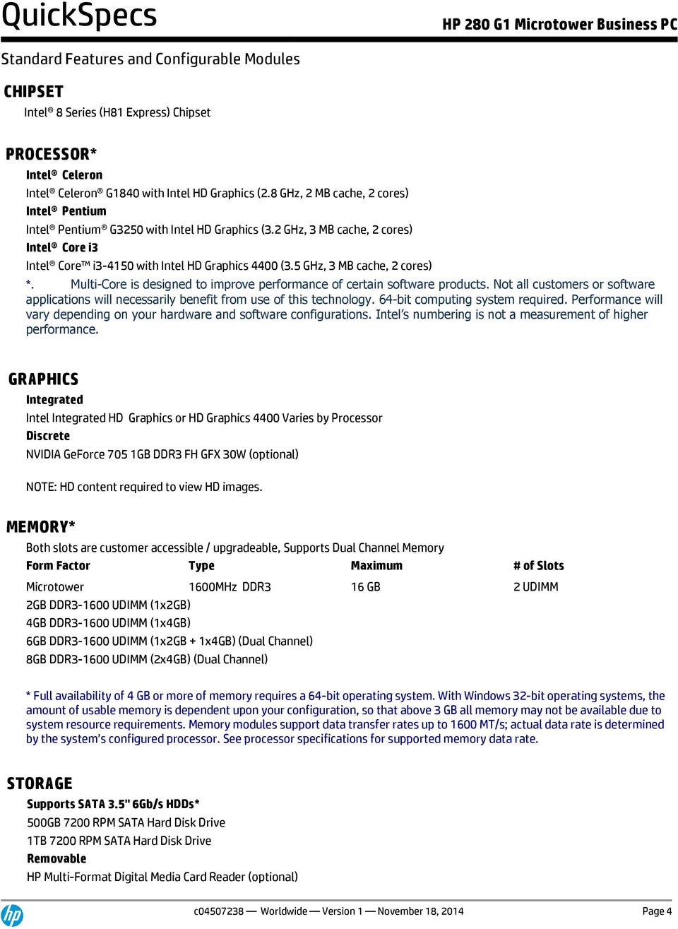 QuickSpecs  HP 280 G1 Microtower Business PC  Overview - PDF
