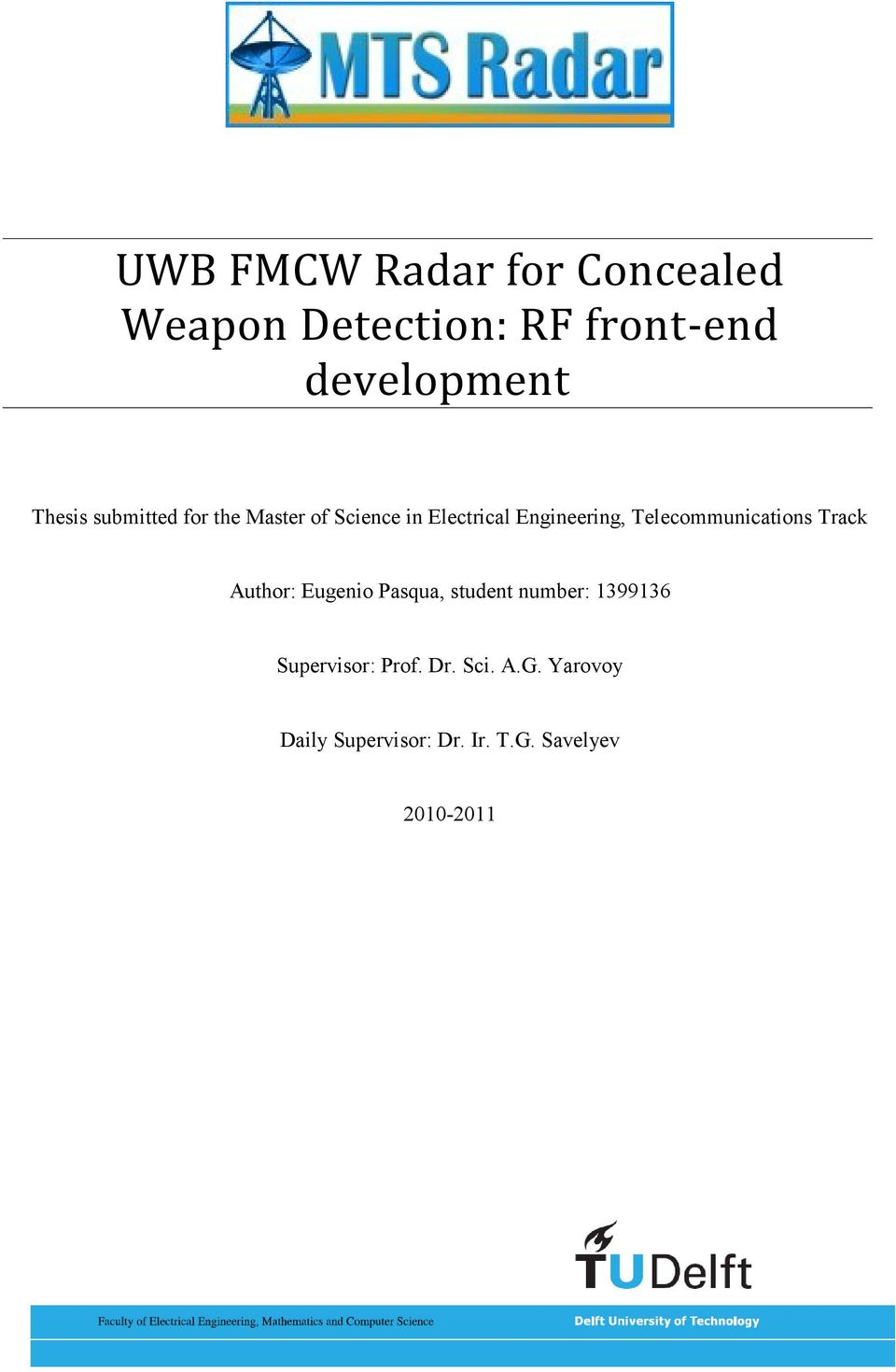 UWB FMCW Radar for Concealed Weapon Detection: RF front-end