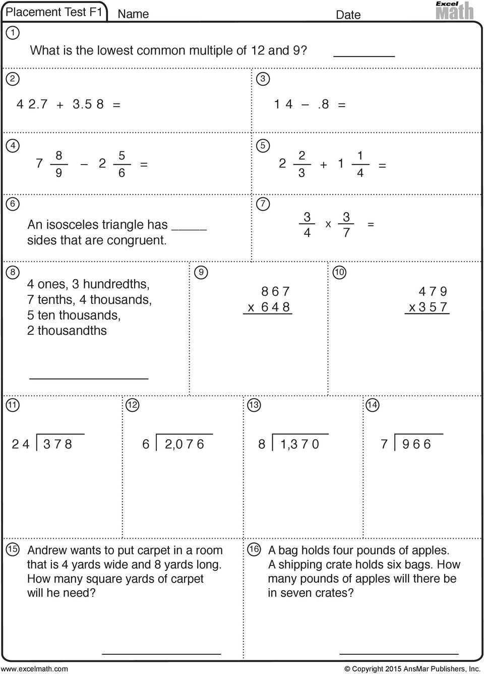 Excel Math Placement Tests A grade-level evaluation tool - PDF