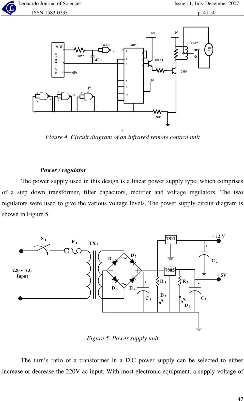 Design And Construction Of A Remote Controlled Power Supply Unit Pdf Ampcircuits High Current Output Switching Down Transformer Filter Capacitors Rectifier Voltage Regulators The Two Were Used