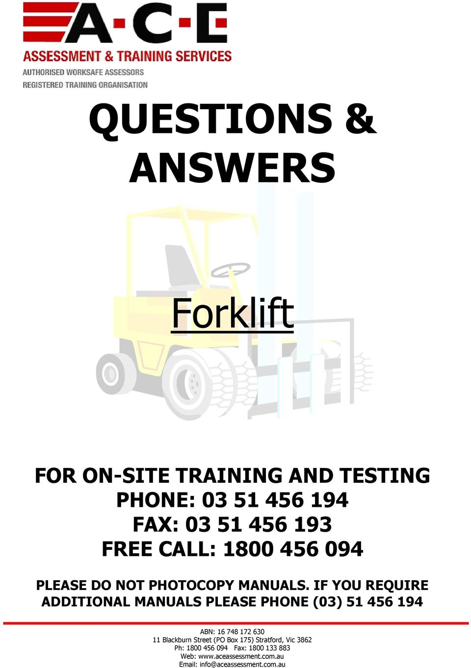 Questions Answers Forklift Pdf