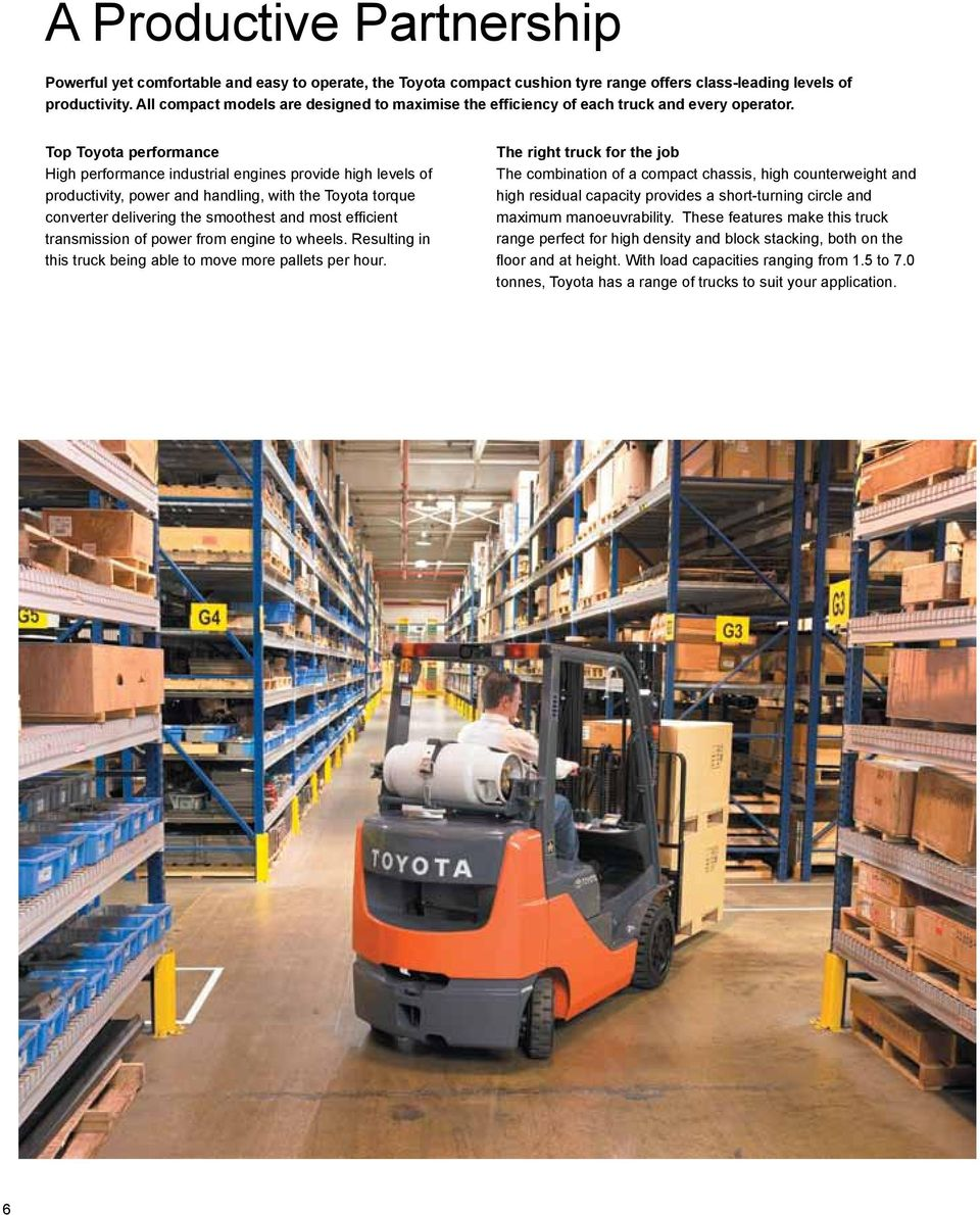 Compact Forklift tonne Gas Powered Forklift Cushion Tyre - PDF