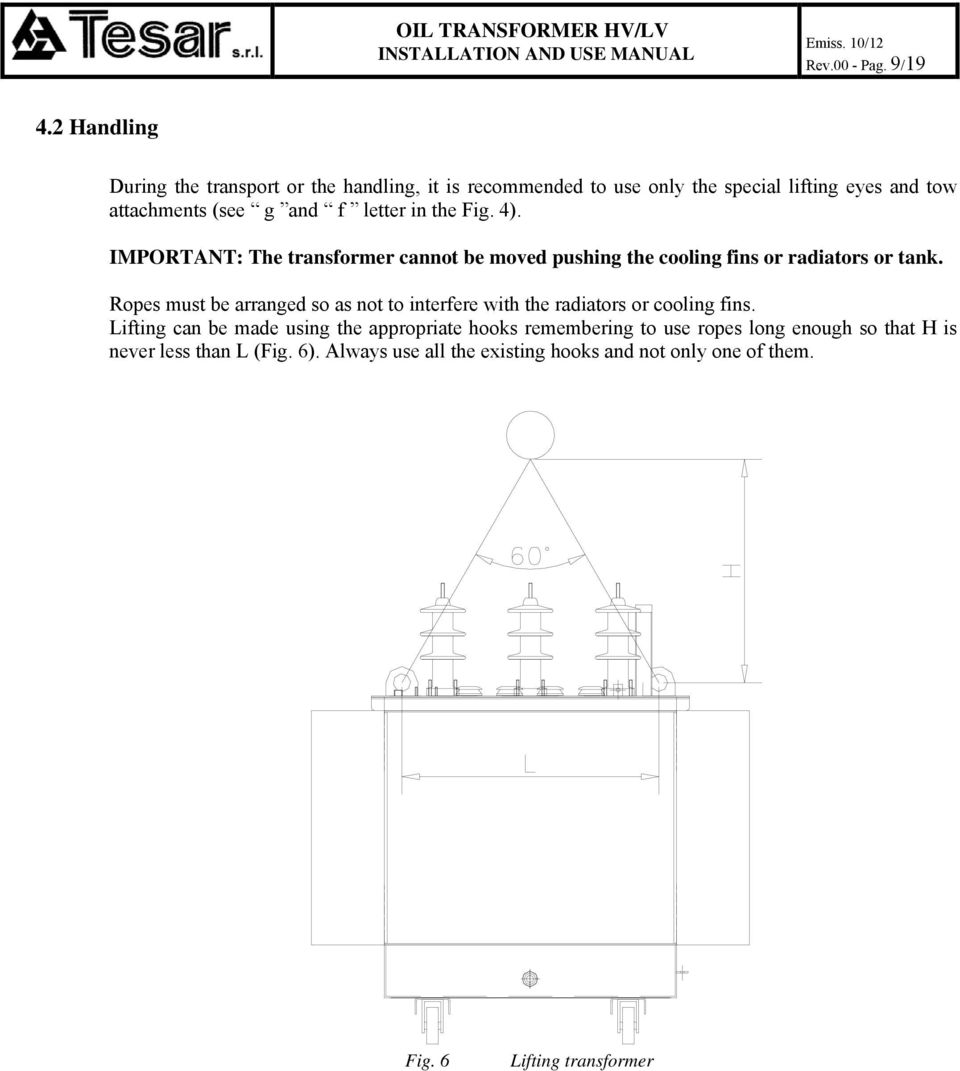 Installation And Use Manual Oil Transformer Pdf Figure 11 Structural Schematic Diagram Of Letter In The Fig 4 Important Cannot Be Moved Pushing