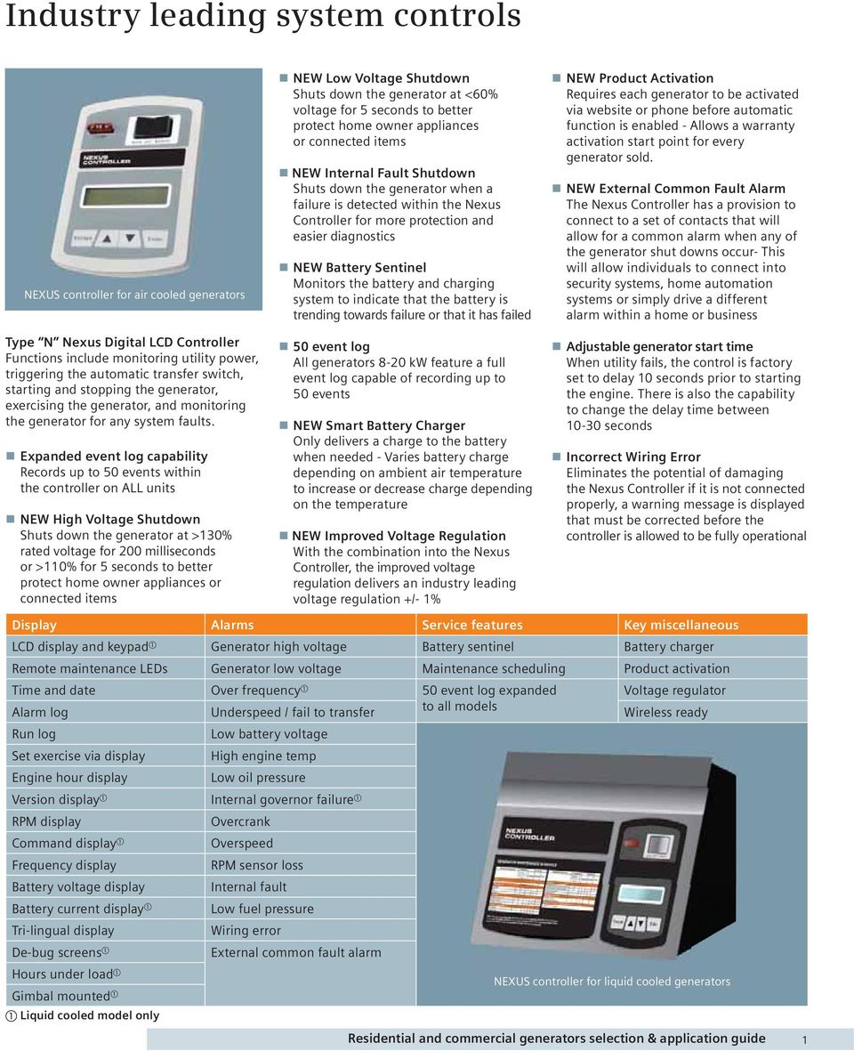 Selection And Application Guide Pdf Generator Standby Power Mechanical Interlock Kit Expanded Event Log Capability Records Up To 50 Events Within The Controller On All Units New 4 Features