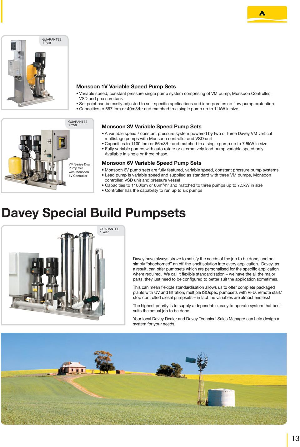 Davey Product Guide Irrigation Pumps Experts In Water Pdf Flygt Submersible Liberty Logo Godwin Pump Diagram With Monsoon 6v Controller 3v Variable Speed Sets A Constant Pressure 14 Firefighter