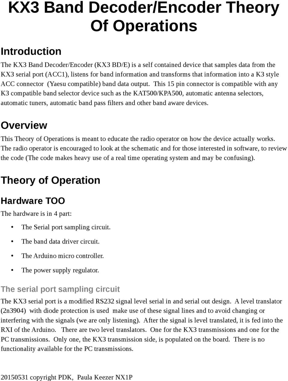 KX3 Band Decoder/Encoder Theory Of Operations - PDF Free ... Kx Schematic on