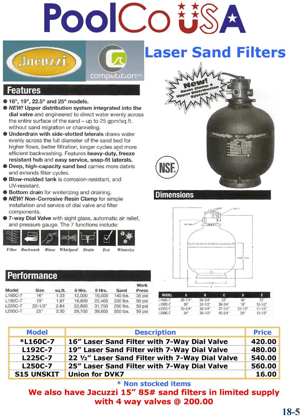 00 L225C-7 22 ½ Laser Sand Filter with 7-Way Dial Valve 540