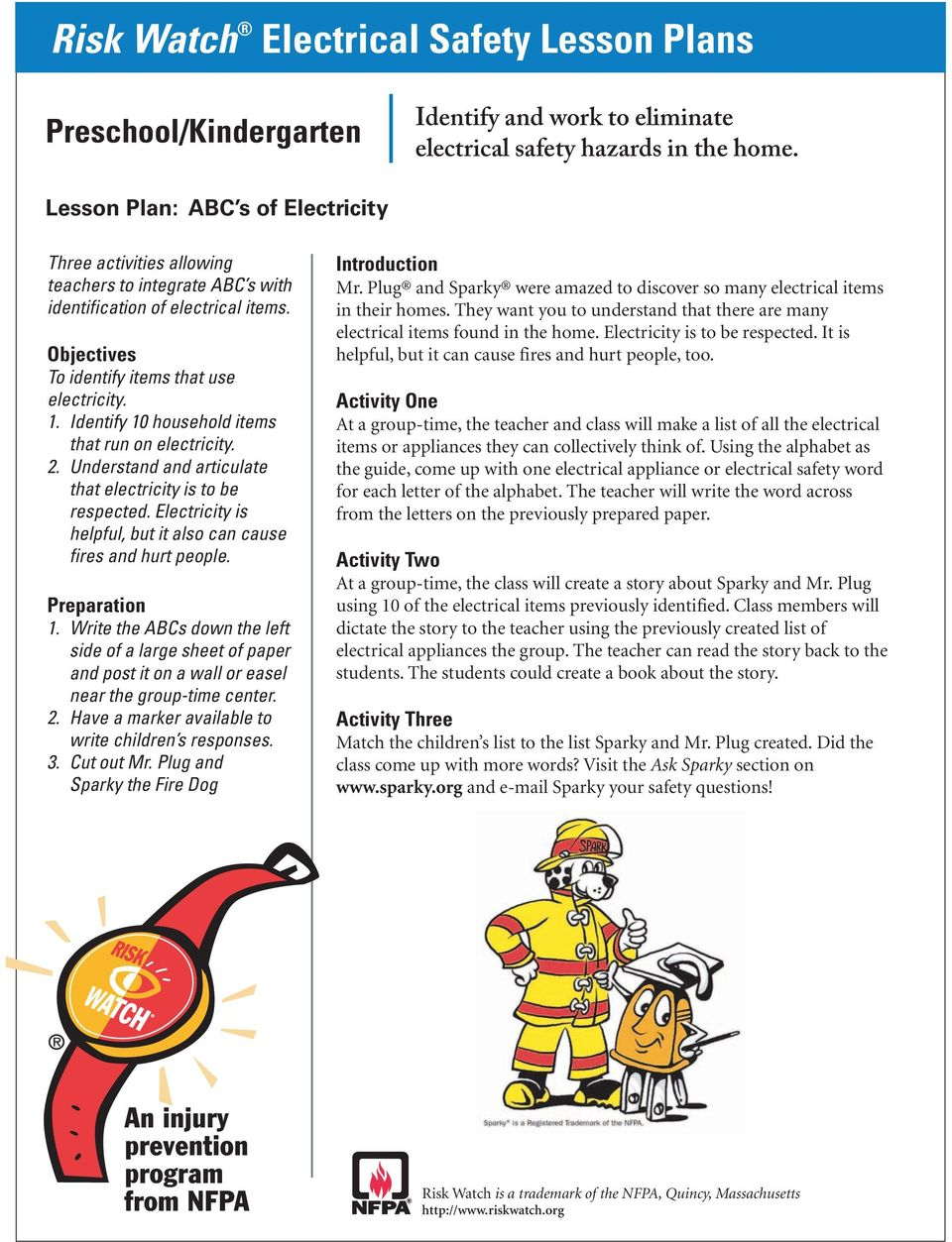 Risk Watch Electrical Safety Lesson Plans - PDF