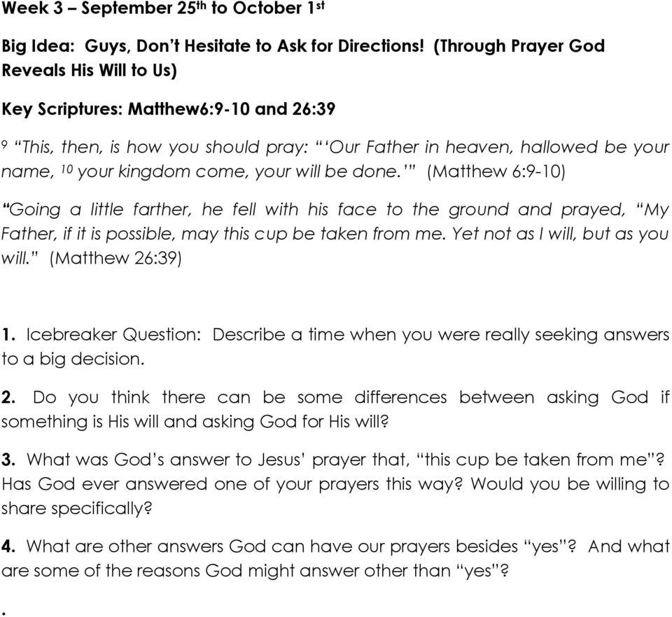 Discovering God s Will For Your Life - Life Group Questions - PDF