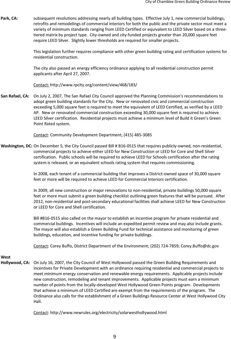 City Of Chamblee Green Building Ordinance Review Prepared By