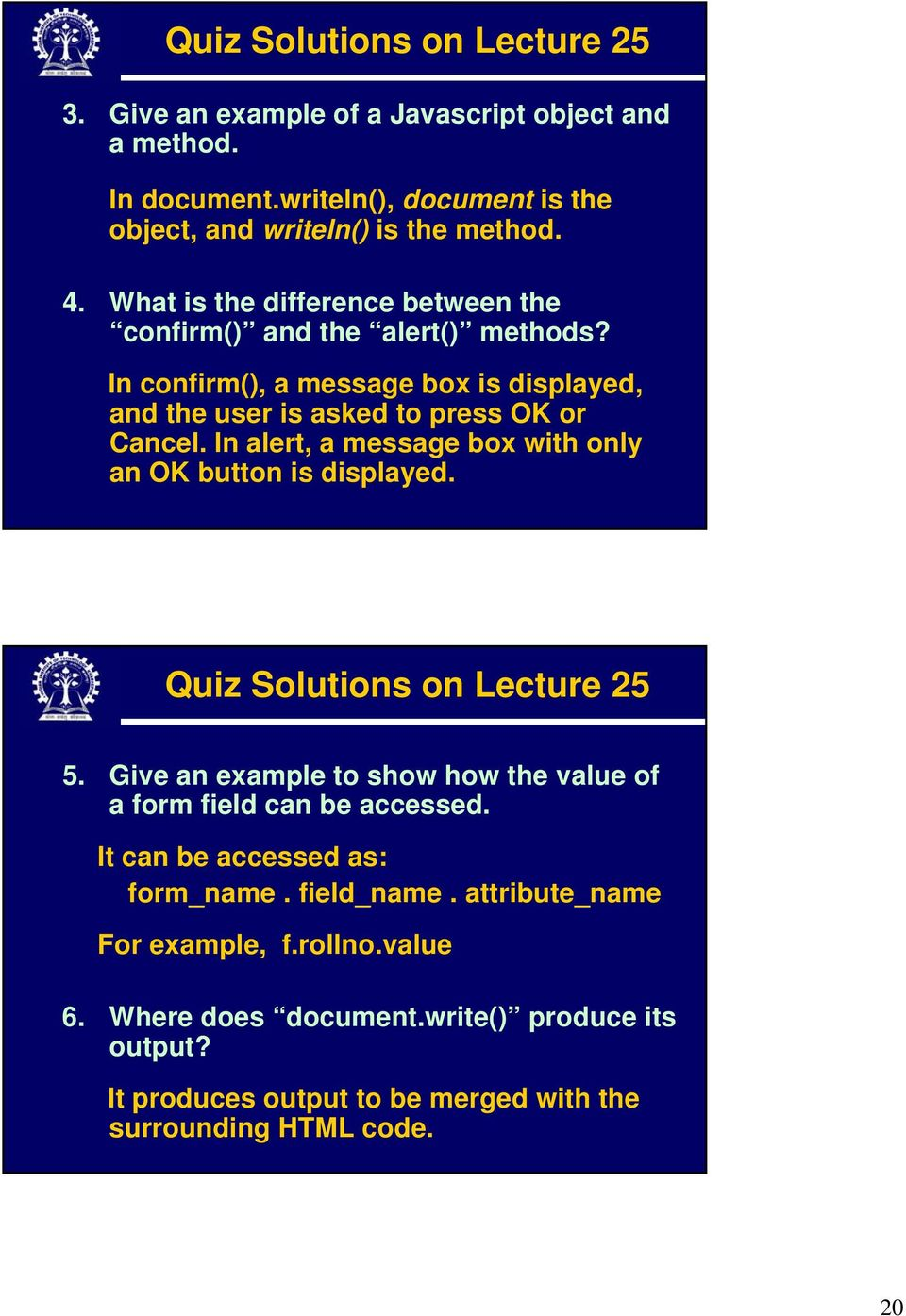 Indian Institute of Technology Kharagpur  Javascript Part II  Prof