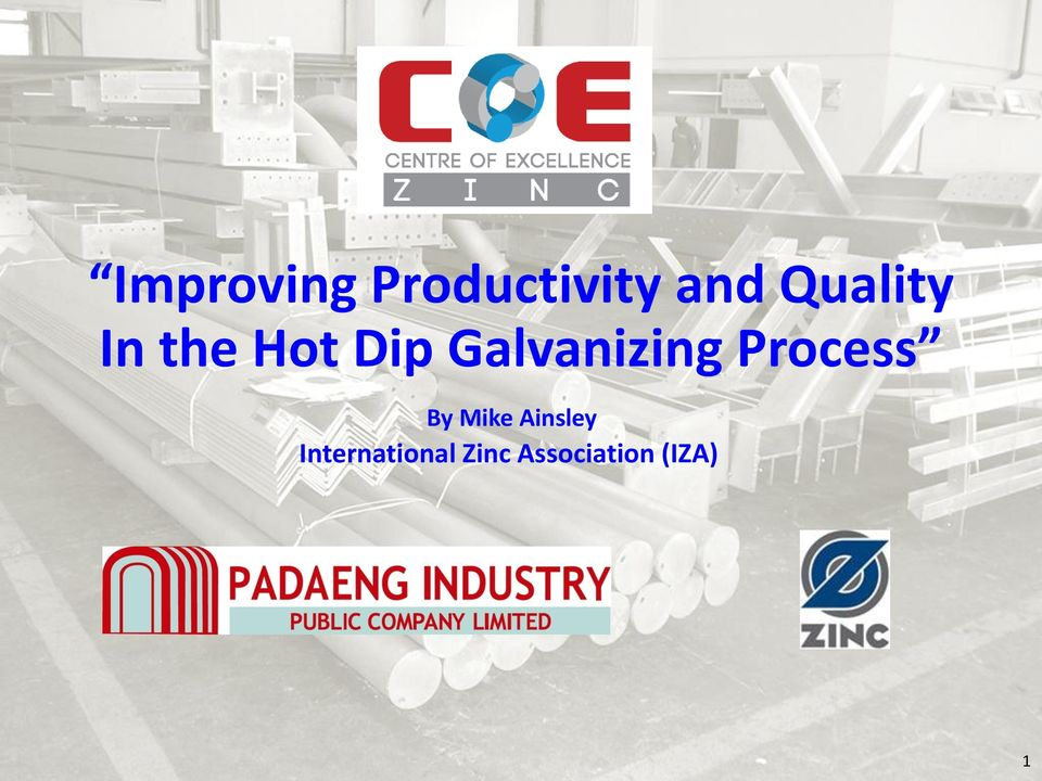 Improving Productivity And Quality In The Hot Dip Galvanizing