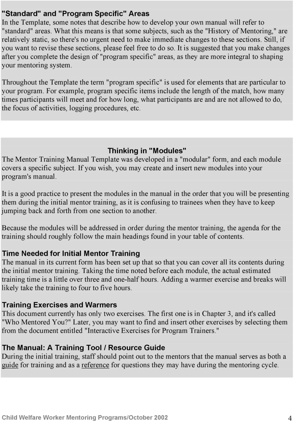 training manual format example