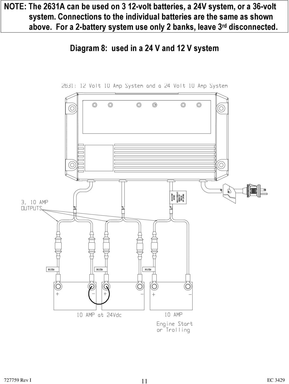 Trolling Charger Series Owner S Manual Pdf Odyssey Ups Circuit Diagram Connections To The Individual Batteries Are Same As Shown Above