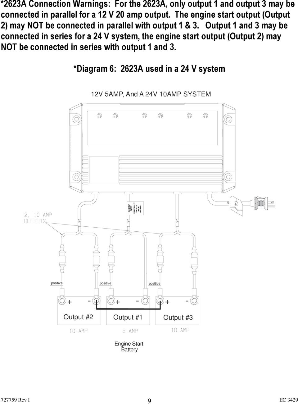 Trolling Charger Series Owner S Manual Pdf Odyssey Ups Circuit Diagram Output 1 And 3 May Be Connected In For A 24 V System The
