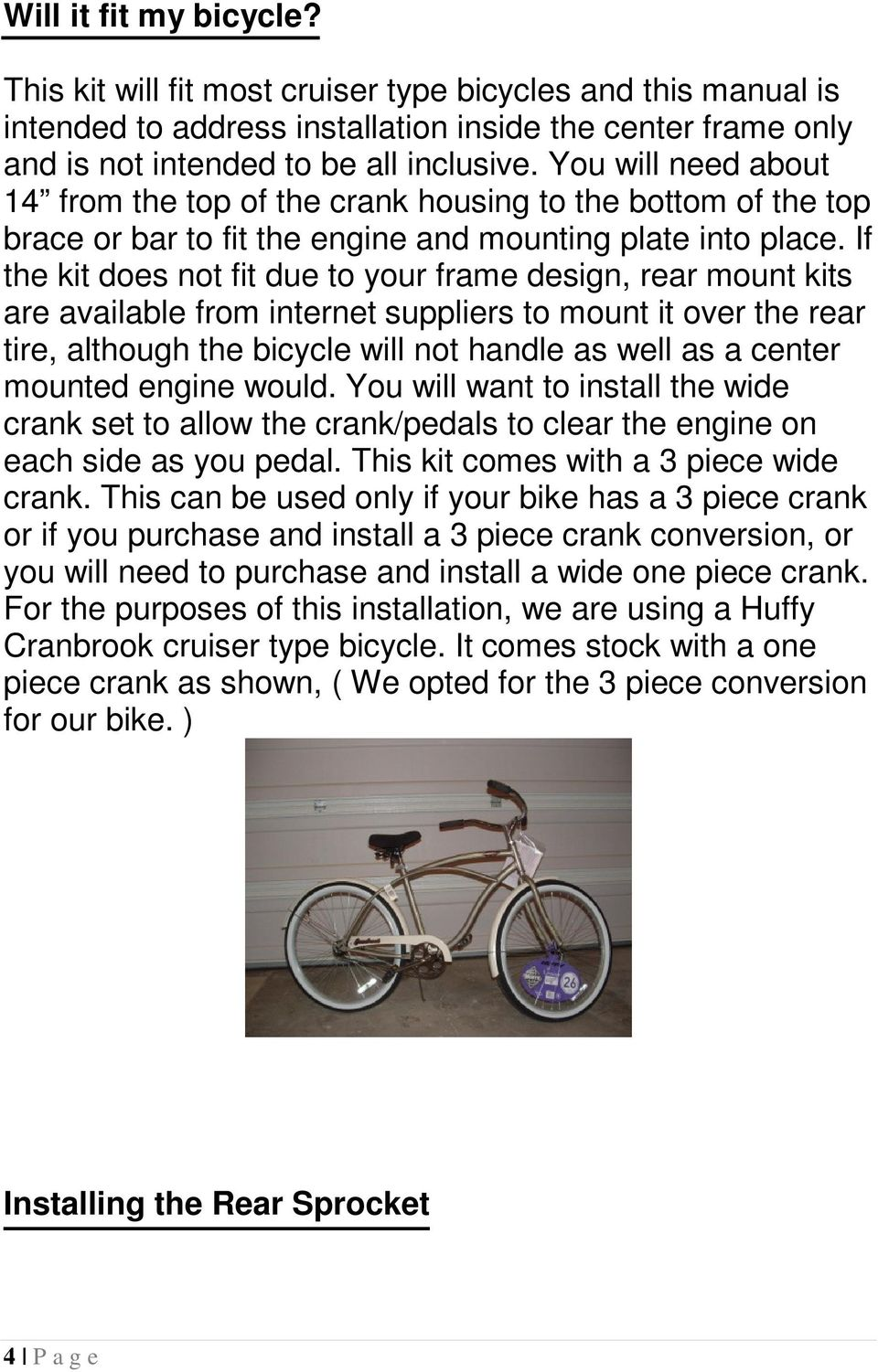 49cc 4 STROKE MOTORIZED BICYCLE INSTALLATION MANUAL - PDF
