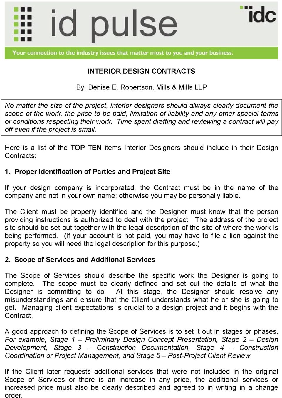 Interior Design Contracts By Denise E Robertson Mills
