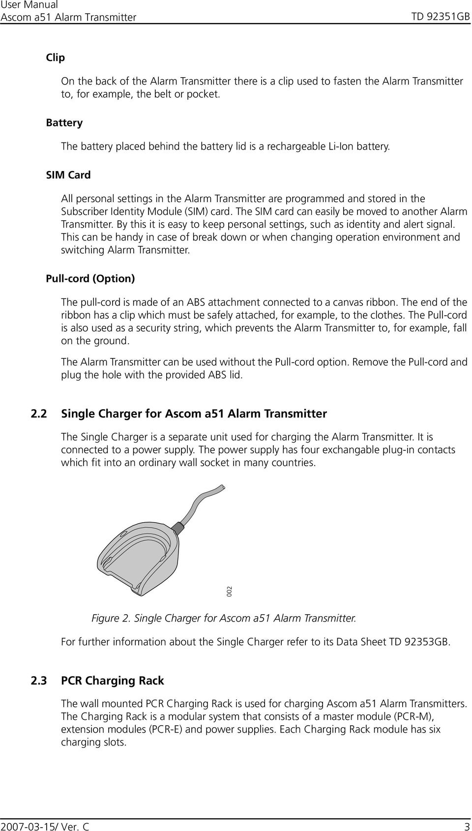 User Manual Ascom a51 Alarm Transmitter - PDF