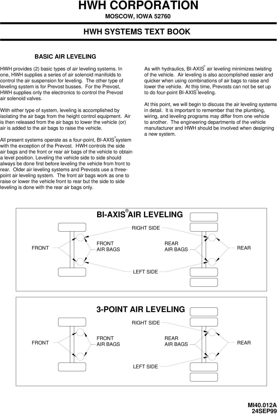 Hwh Air Leveling Systems Text Book Corporation 2096 Moscow Road Volvo 960 1994 Instrument Cluster Wiring Diagram And Ambient Temperature Guide With Either Type Of System Is Accomplished By Isolating The Bags From