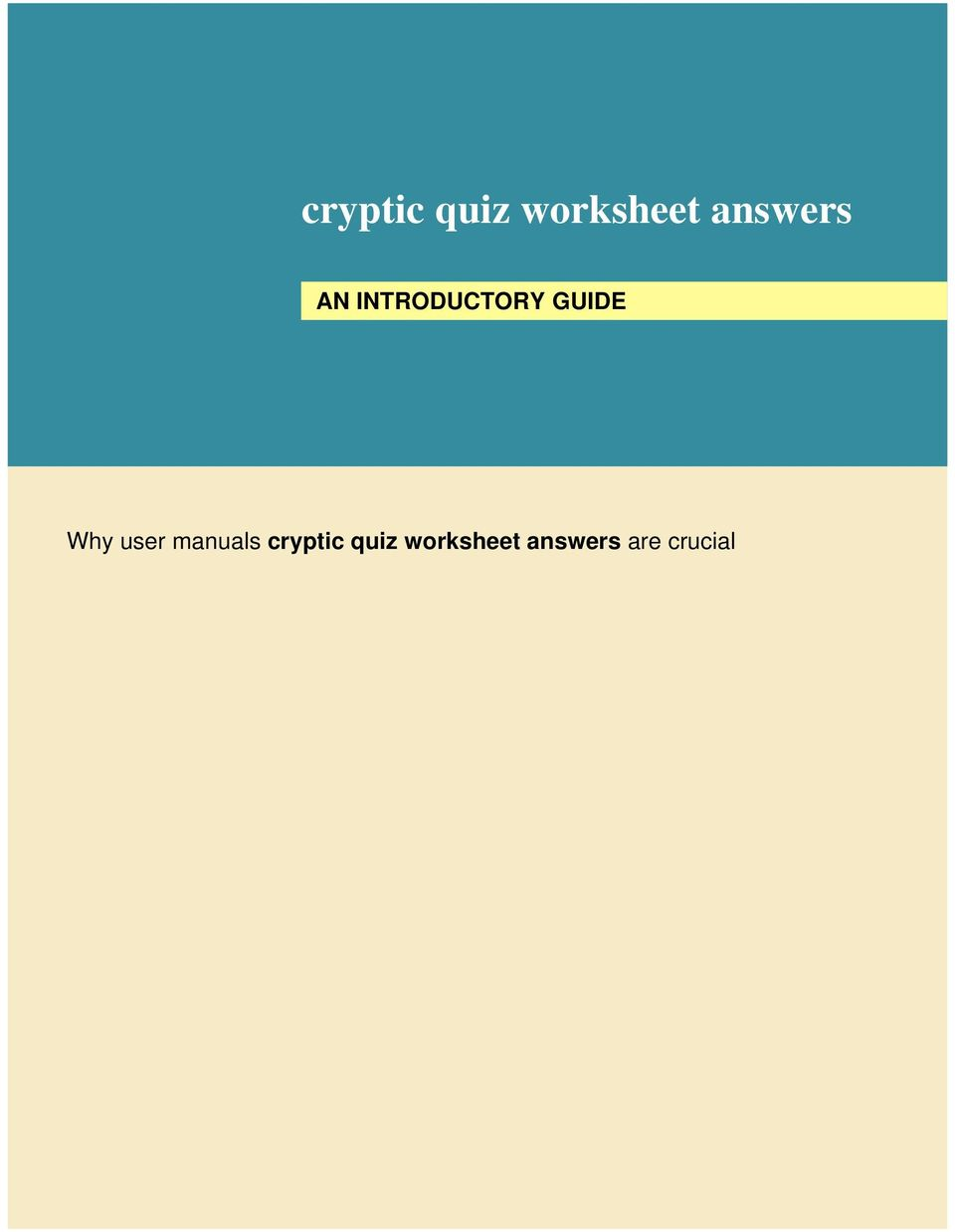 cryptic quiz worksheet answers - PDF