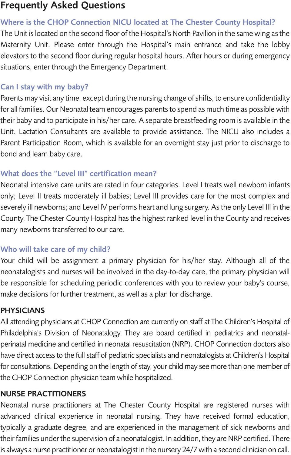 CHOP  The Chester County Hospital A GUIDE TO NEONATAL