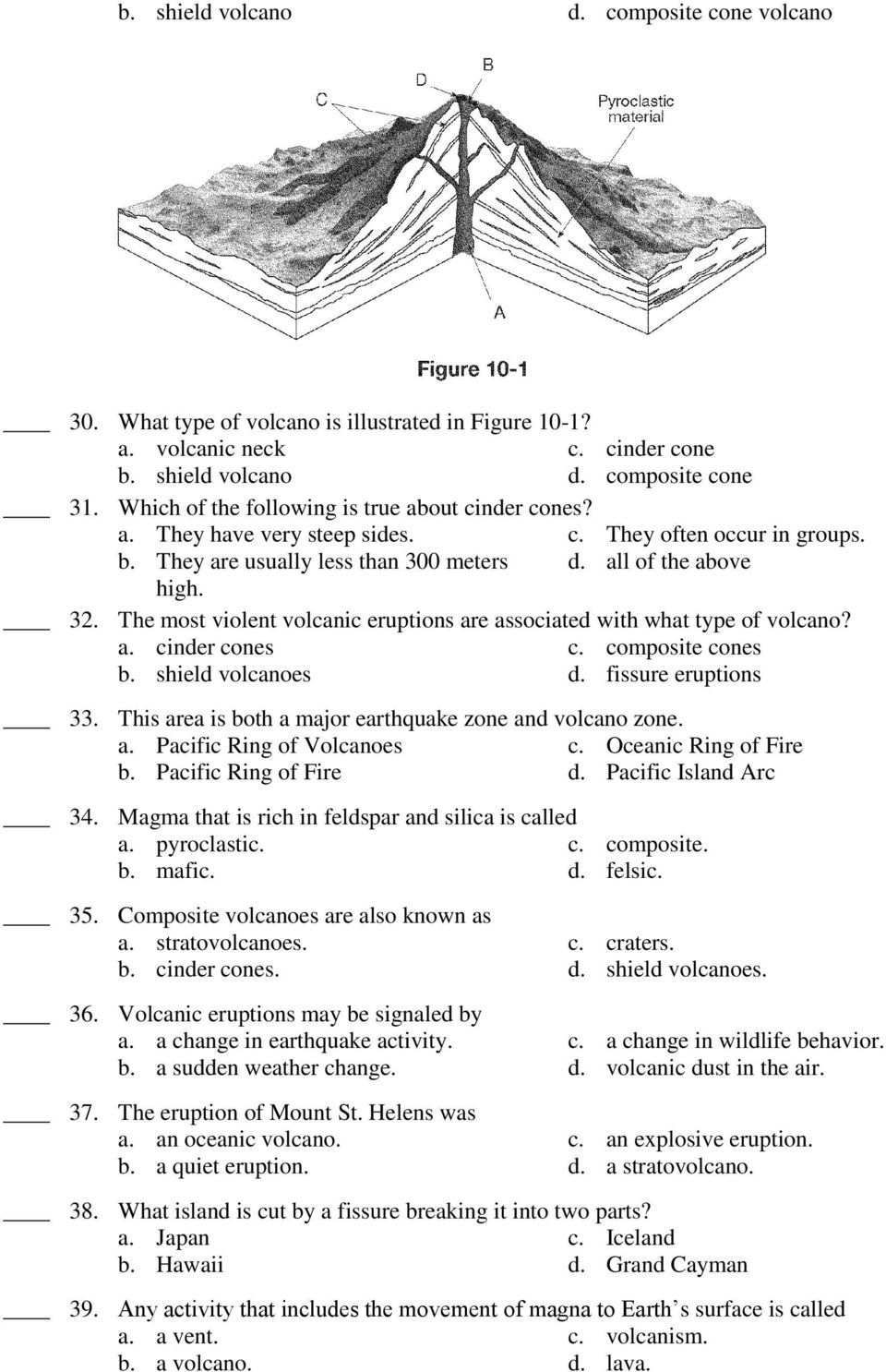 Test 3 Earth Formation Structure Plate Boundaries Volcanism Pdf Cinder Cone Volcano Diagram The Most Violent Volcanic Eruptions Are Associated With What Type Of A