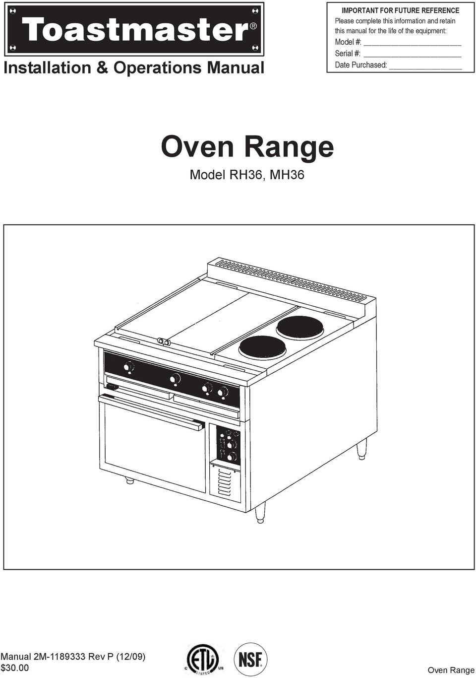 oven range installation \u0026 operations manual model rh36, mh36 Electrical Wiring Diagrams For Dummies equipment model serial date purchased oven range model rh36,