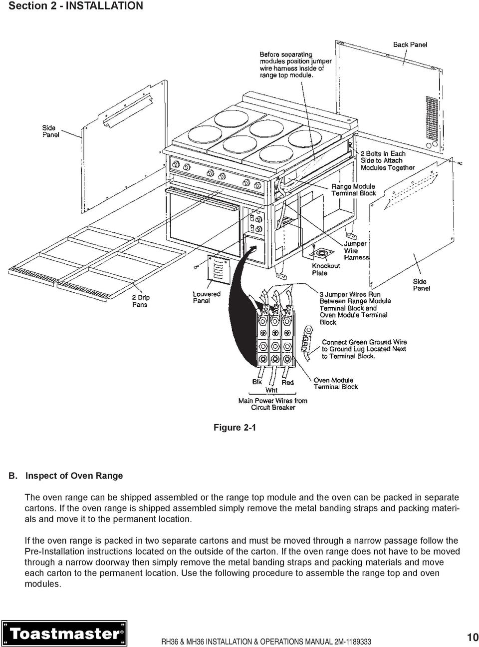 Oven Range Installation Operations Manual Model Rh36 Mh36 Wiring Diagram If The Is Packed In Two Separate Cartons And Must Be Moved Through A