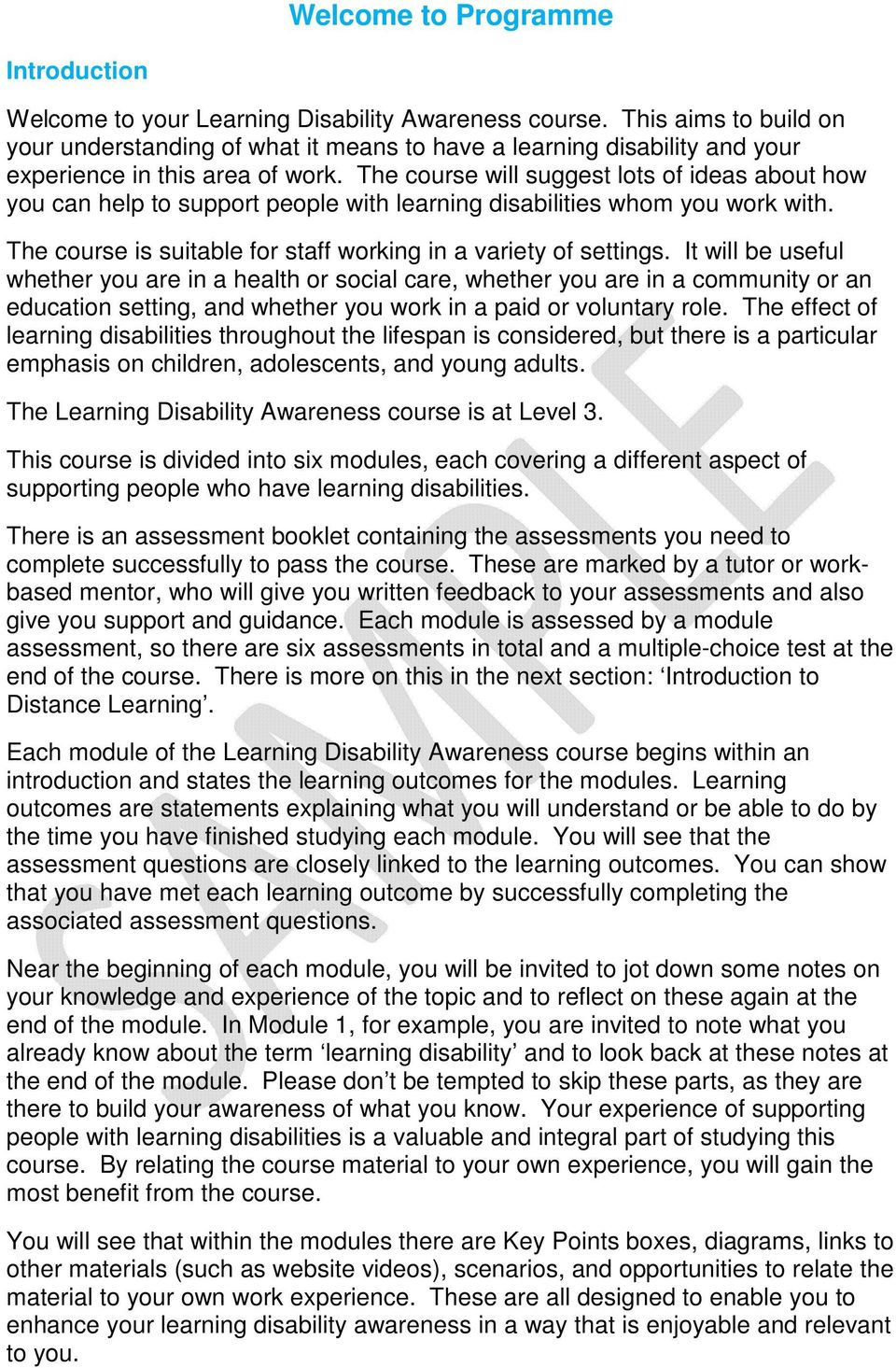 Certificate in Learning Disability Awareness for Health and