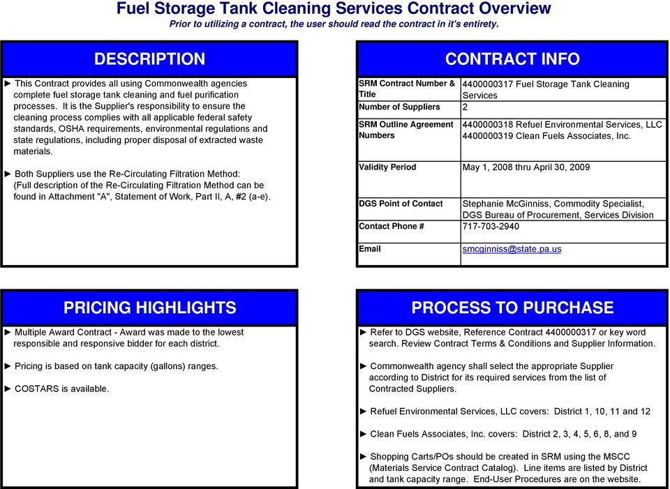 Fuel Storage Tank Cleaning Services Contract Overview Prior To